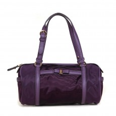 Salvatore Ferragamo Purple Bowler Handbag 01