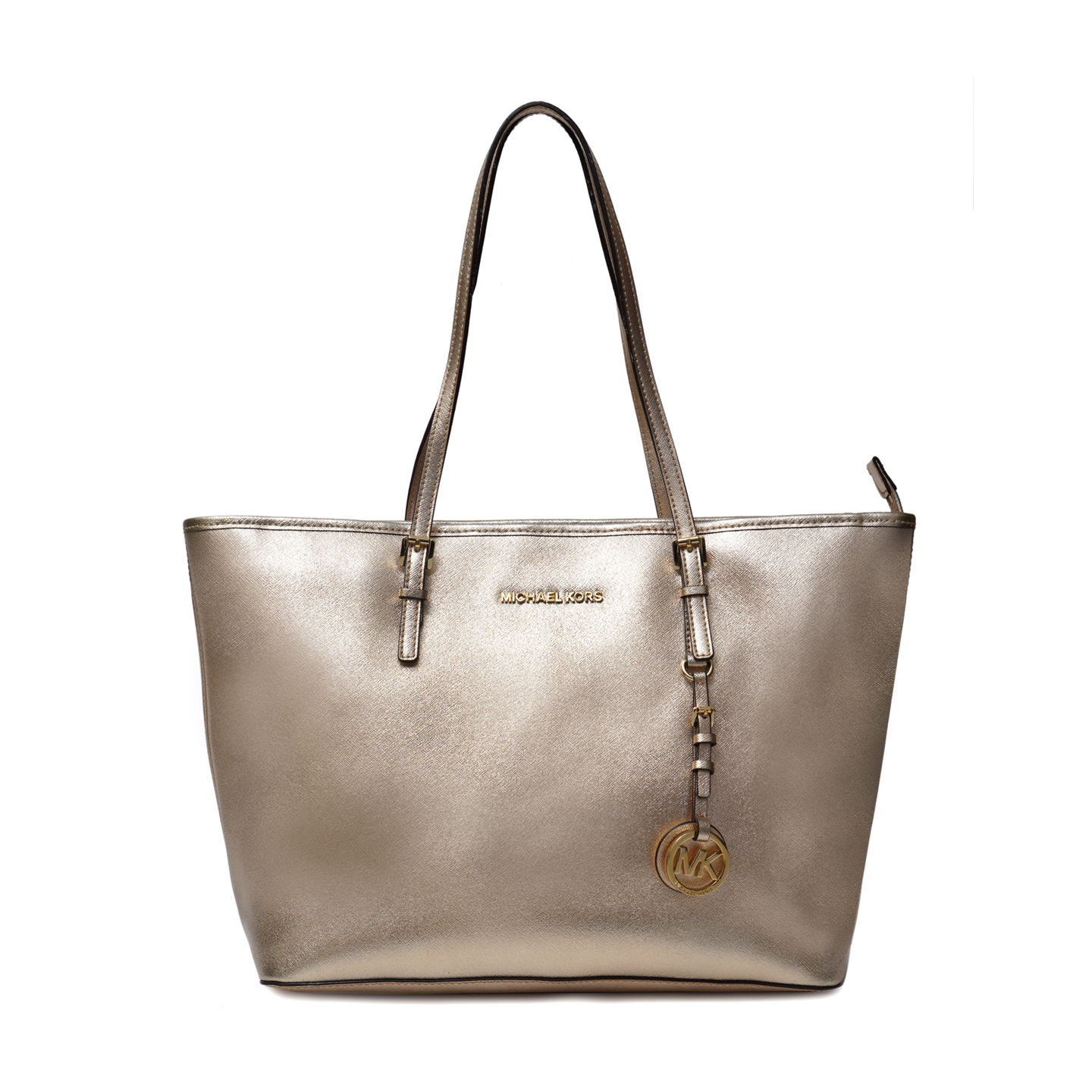 98e56e98b850 Michael Kors Jet Set Metallic Gold Tote - LabelCentric