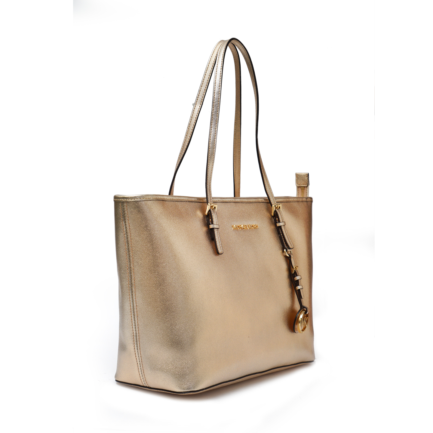 12a49fcc9 Michael Kors Jet Set Metallic Gold Tote - LabelCentric