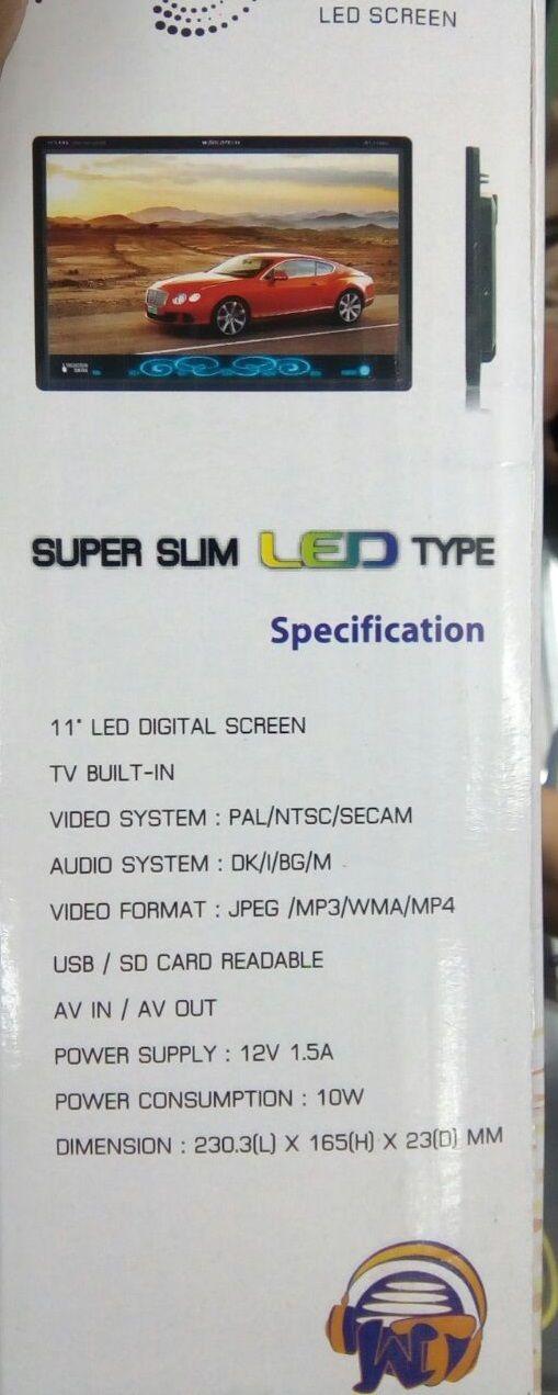 """Worldtech 11""""LED Digital TFT Screen USB/ SD Card Readable /AV in AV Out Full HD"""