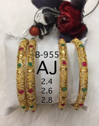 Fancy Bangles 4pc kada type with 3 sizes with stones