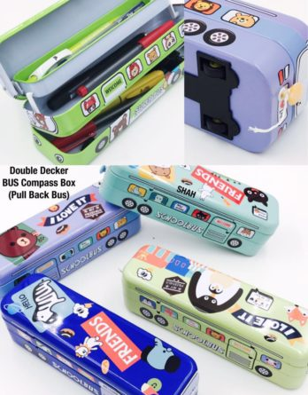 Double Decker School Bus Shape Pencil Pouch Box Pull Back Working