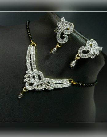 Elegant looking Magal Sutra with ear rings artificial gold with stones