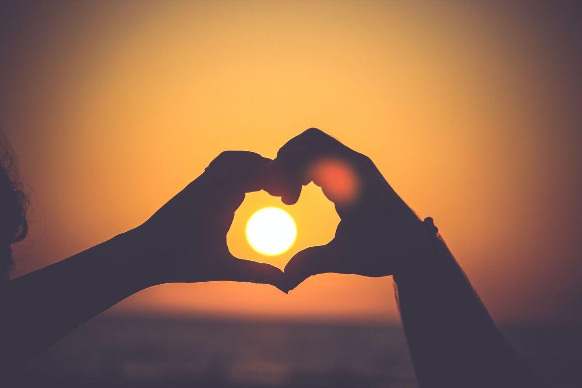 heart against sunset