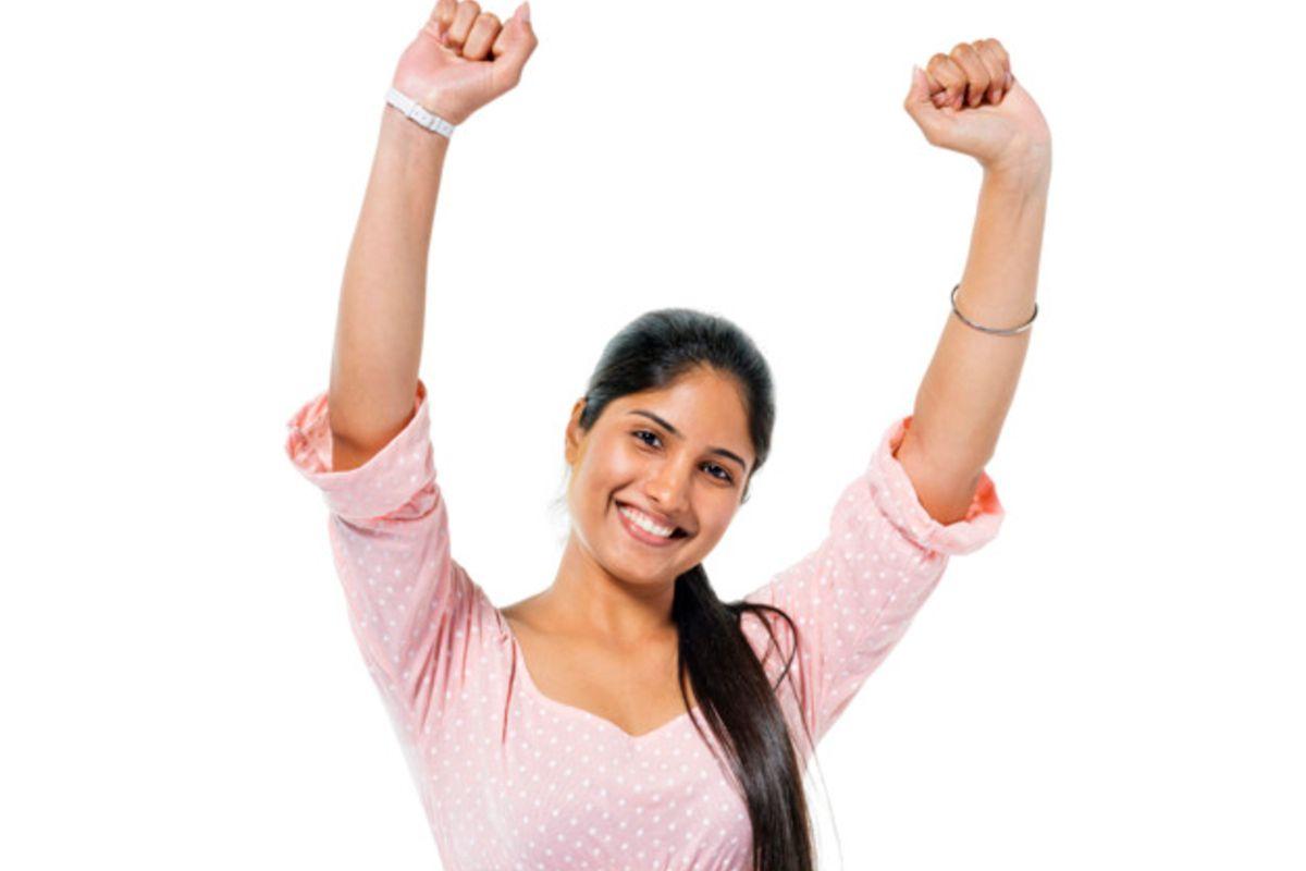 Indian woman celebrating