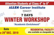 ALLEN's Winter Workshop 2019 for students of Class 4th to 9th: Check Details Here