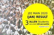 JEE Main Result 2020 – 3 Students of ALLEN Career Institute secured 100 percentile