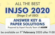 INJSO 2020 to be conducted on 1st Feb. Answer Key and Paper Solutions by ALLEN will be available tomorrow