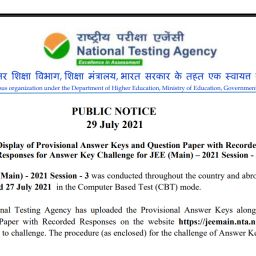 JEE MAIN 3RD ATTEMPT QUE PAPER ANSWER KEY