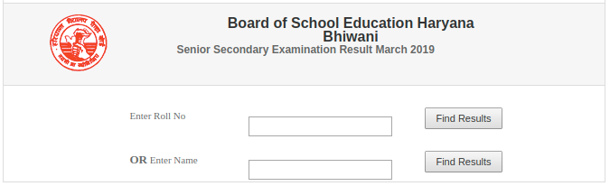 HBSE Class 12th Result Login