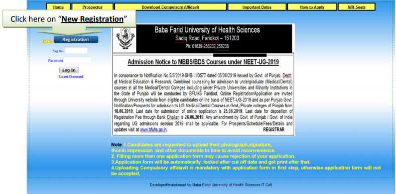 Punjab NEET Registration