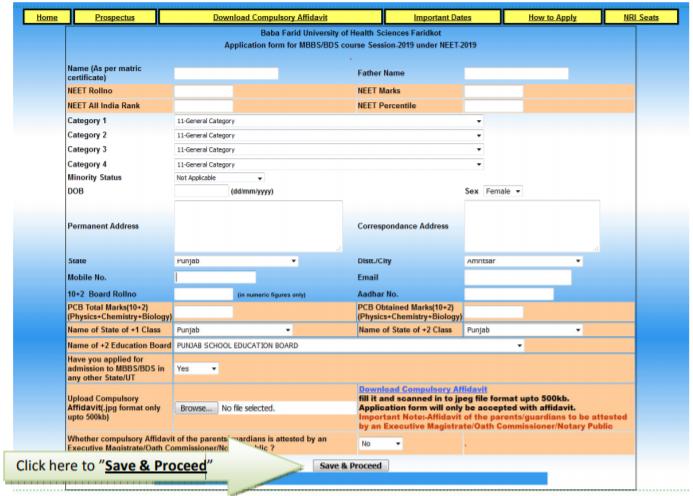Punjab Application Form for Medical and Dental Courses