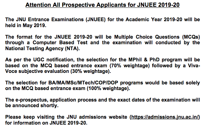 JNUEE NTA Notification