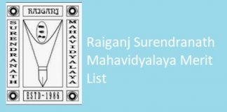 Raiganj Surendranath Mahavidyalaya Merit List