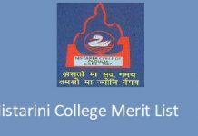 Nistarini College Merit List