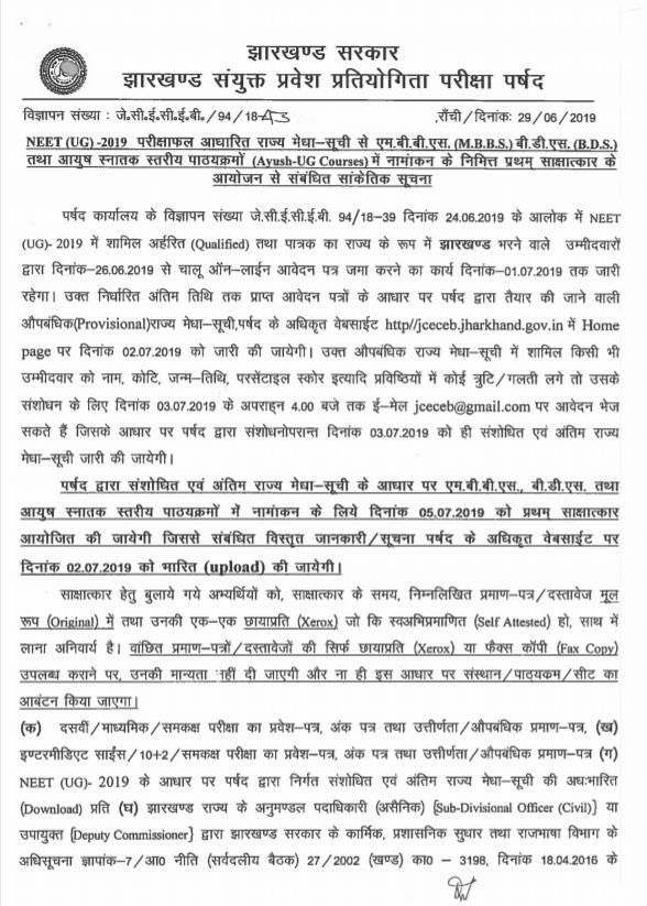Jharkhand MBBS Merit List 2019