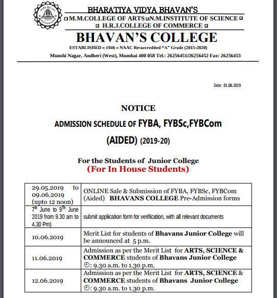 Bhavans College Schedule
