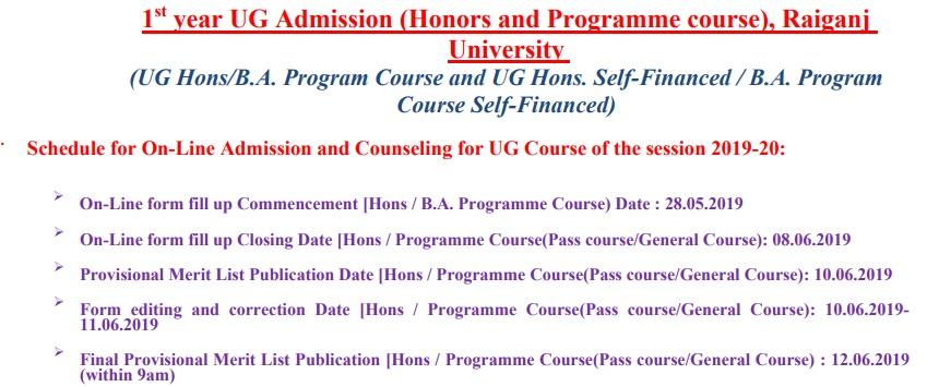 Raiganj College Admission Date
