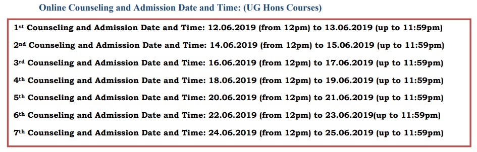 Counselling of UG Hons