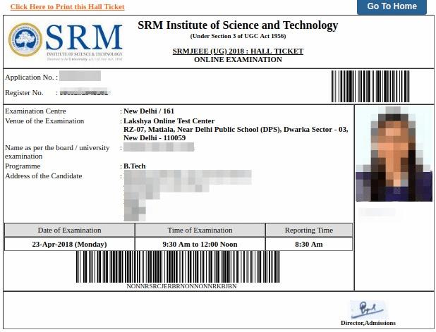SRMJEEE 2019 admit card