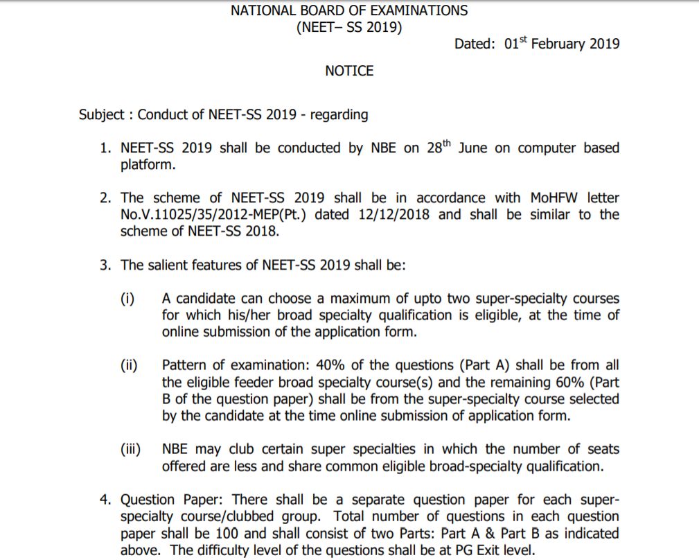 NEET SS 2019: Exam Dates, Application Form, Super Speciality