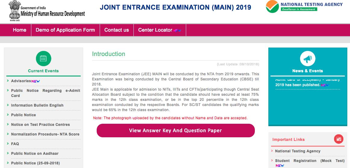 jee main response sheet 2019
