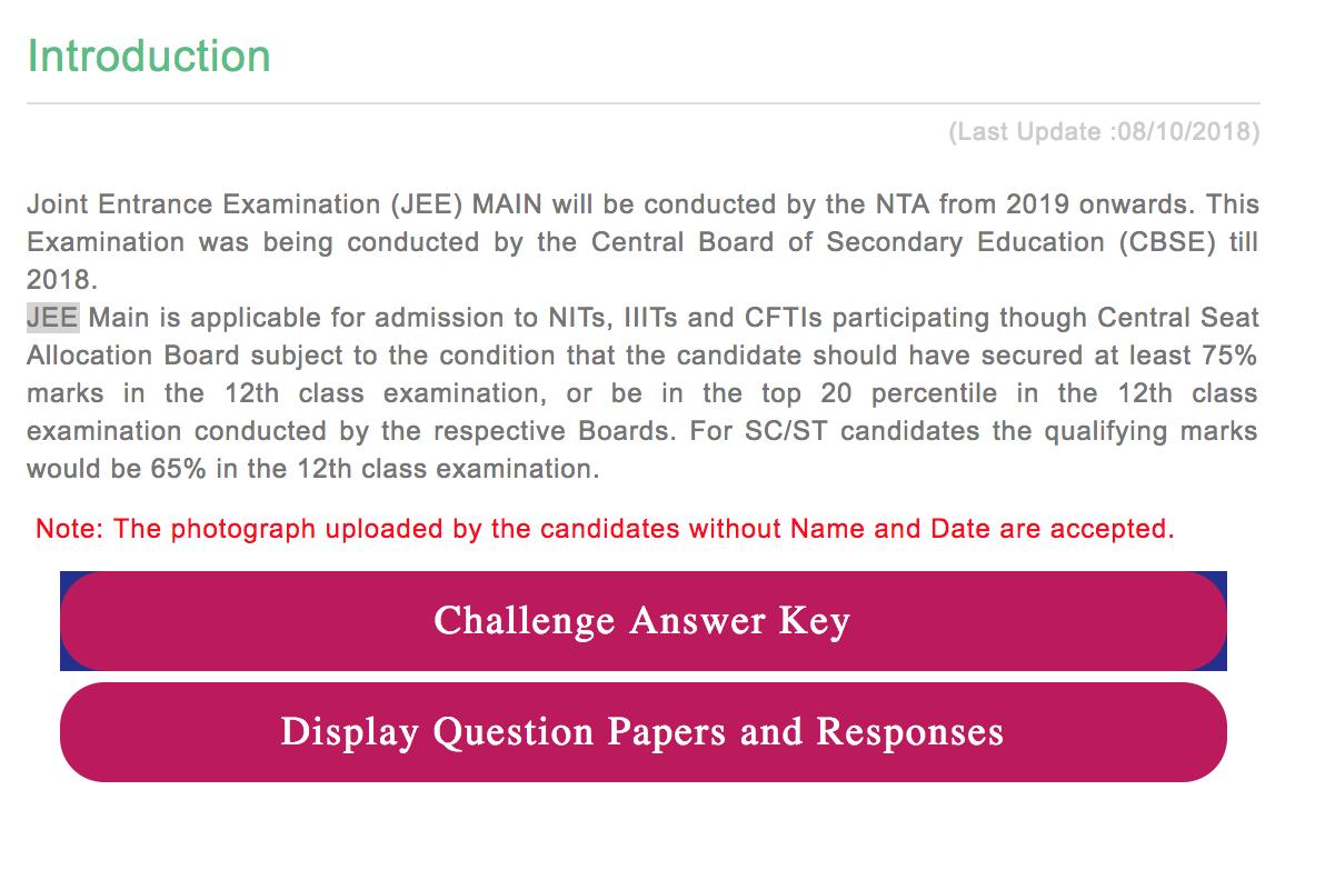 Challenge JEE Main answer key 2019