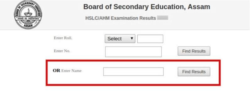 Assam Board Result Login Section