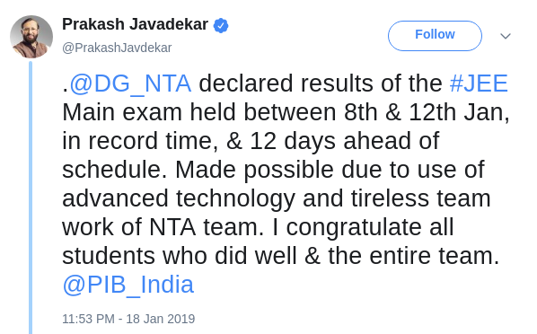 JEE Main 2019 Revised Result