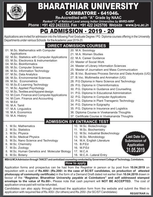 Bharathiar University PG Admission 2019