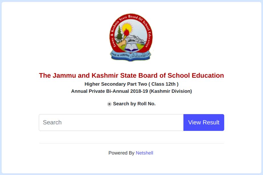 JKBOSE Class 12th Result 2019 Kashmir Divison
