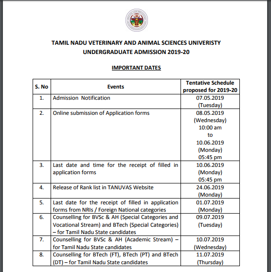 TANUVAS Rank List 2019, TANUVAS Provisional Rank List Released