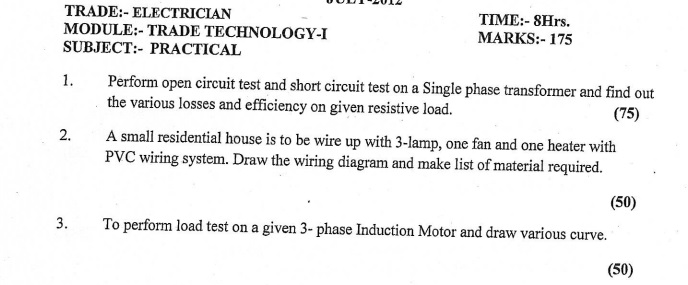 Electrician Previous year paper