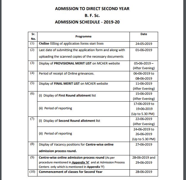 MCAER B.F.S.C Second Year admission schedule