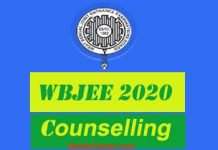 WBJEE Counselling 2020