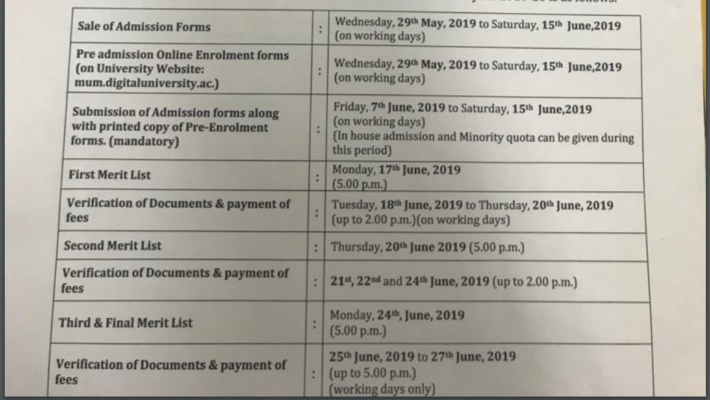 MMK Schedule 2019