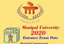Manipal University Entrance Exam Date 2020