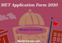 Manipal University Application Form 2020