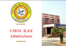VMOU B.Ed Admission 2019