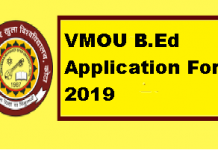 VMOU B.Ed Application Form 2019