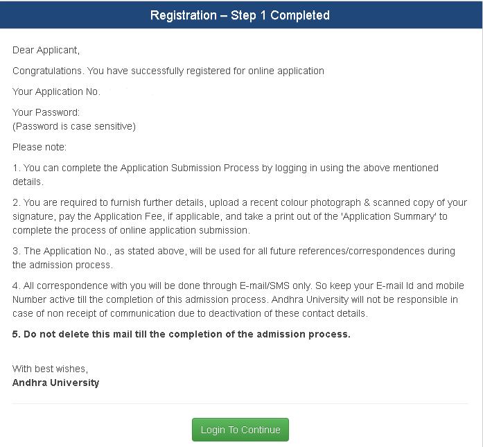 AUCET Registration Step 1 Complete