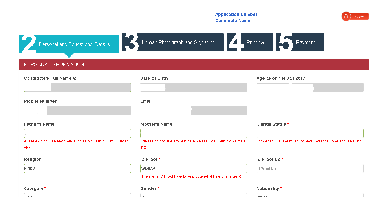 AUCET Application Form Personal Details