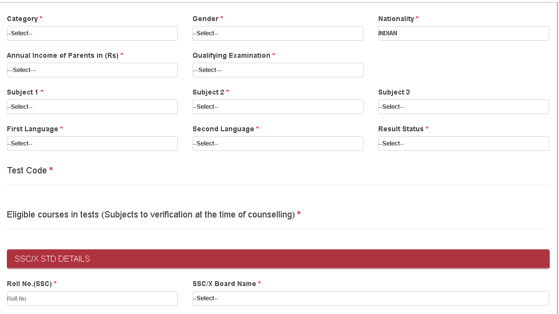 AUCET Registration Form