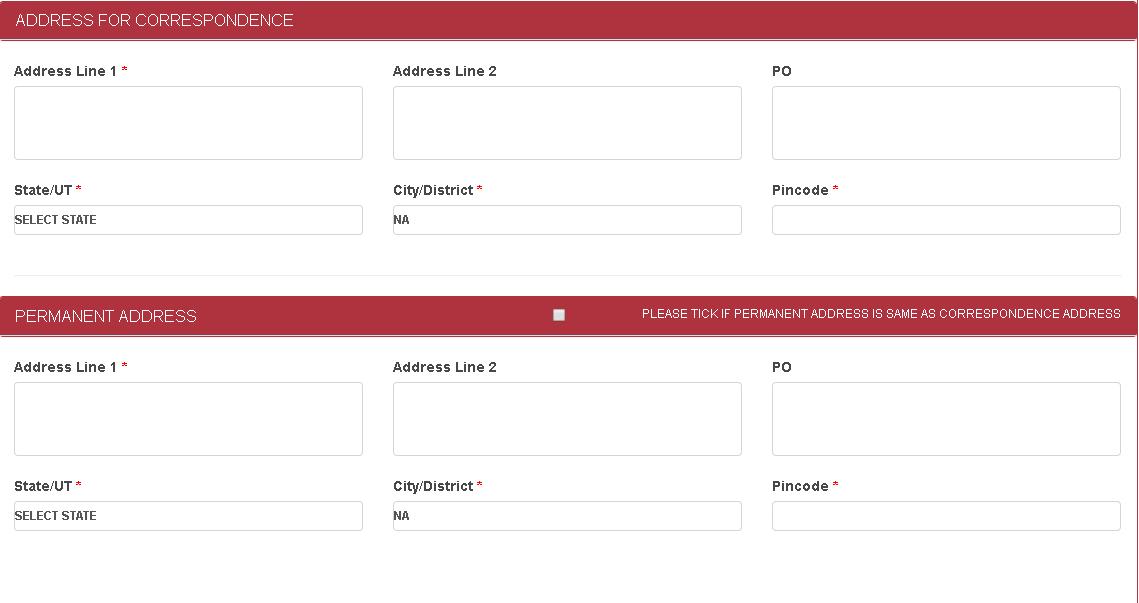 AUCET Application Form Address Details