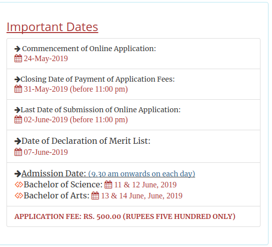 Cotton University Dates 2019