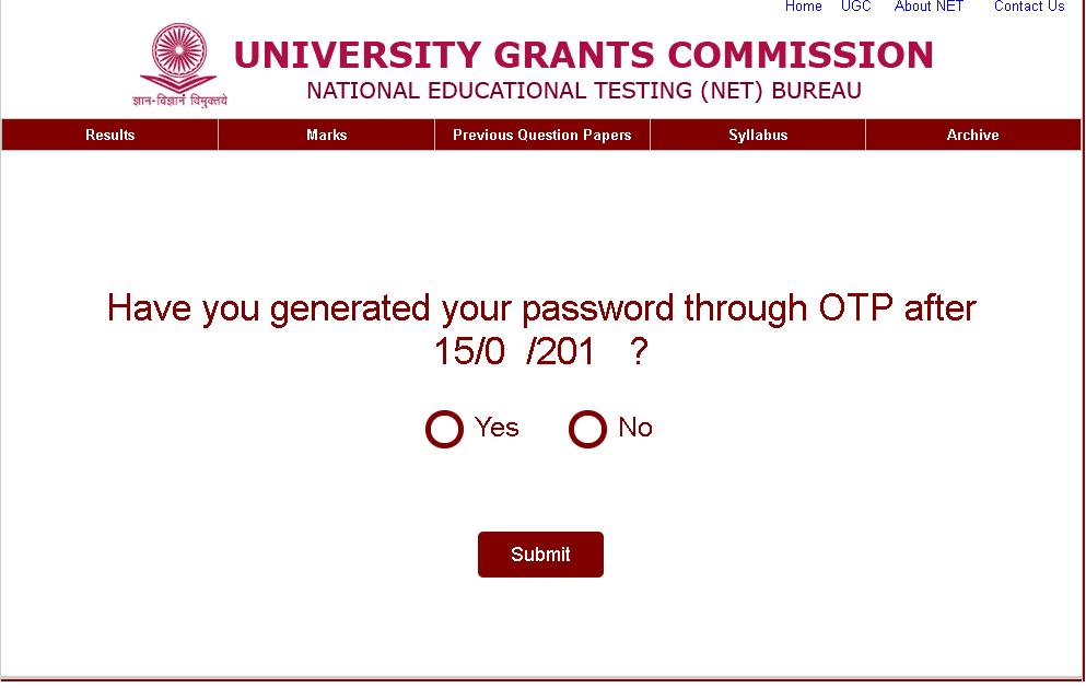 UGC NET E-Certificate Window