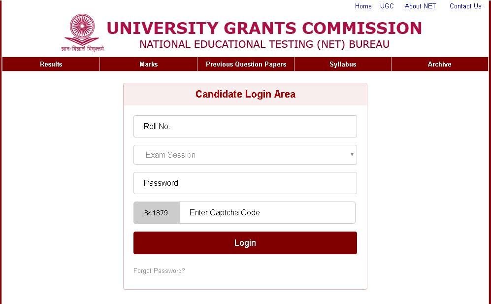 UGC NET E-Certificate Log In Window