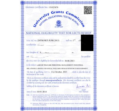 UGC NET E-Certificate