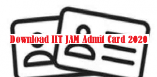IIT JAM Admit Card 2020