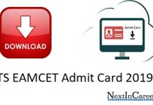 TS EAMCET Admit Card 2019